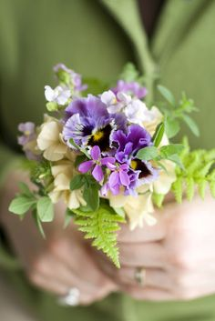 Pansy Flowers and Fern Nosegay Bouquet Spring Flower Bouquet, Floral Bouquets, Spring Flowers, Wedding Bouquets, Wedding Flowers, Small Bouquet, Flowers For You, Fresh Flowers, Beautiful Flowers