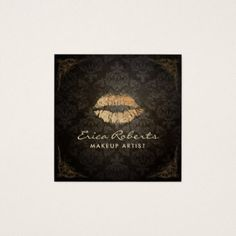 Makeup Artist Gold Lips Salon Vintage Damask Square Business Card - artists unique special customize presents