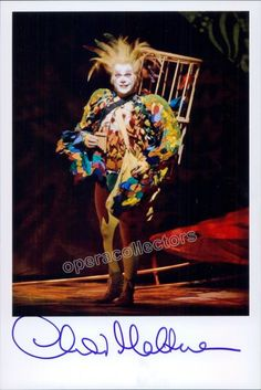 English baritone (b. 1970), gorgeous signed photo, shown as Papageno in Die Zauberflote, opera by Mozart. Size is 5 x 7 inches.