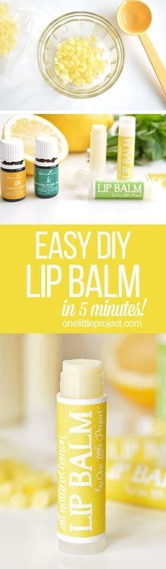 This homemade lip balm is SO EASY to make! It only takes three simple ingredients and it solidifies almost instantly, so you don't even have to wait! So luxurious and a great DIY gift idea!