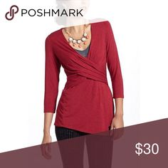 ❤️Anthropologie Pleated Precision Top❤️ Excellent condition! Size small. One September. No rips, stains or tears. Color is like a maroon. 3/4 sleeve length. Anthropologie Tops Tees - Short Sleeve