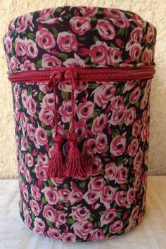 Storage pink bordeaux roses cylinder box handmade by Aliki01 on Etsy