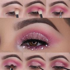 Rave Makeup, Pink Eye Makeup, Pink Eyeshadow, Eyeshadow Makeup, Sephora Makeup, Gala Make Up, Glitter Makeup Looks, Festival Makeup Glitter, Lilac Hair