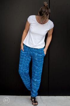 Parachute Pants, Harem Pants, Blue, Bright, Inspiration, Fashion, Sewing Patterns, Trousers, Cotton
