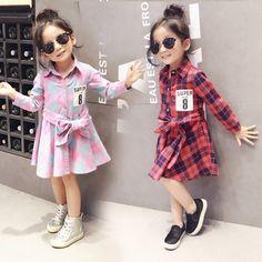 c40eb96ed Children clothing child clothes cotton long sleeve baby girl dress kids  girls princess plaid dresses.
