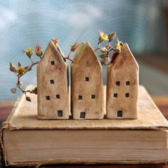 Sweet little houses for your desk or windowsill... Perfect for holding some pretty wildflowers or use as a tiny succulent pot... Can even be used