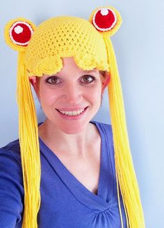 I designed this pattern at a friend's suggestion, because she is a big Sailor Moon fan. This would be a great accessory for cosplay or Halloween or just for fun.  The pattern is written for an adult, but variation instructions are included for smaller sizes.  This hat uses 1-2 skeins of yellow and small amounts of red and white.  The pattern cannot be resold or distributed and my images cannot be used, but hats made from this pattern may be sold anywhere but on Etsy.com and you must link to…