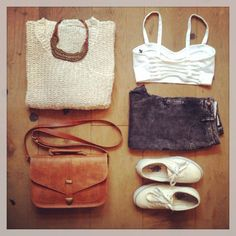 Brandy Melville outfit-beige sweater,white bralette,dark high waisted jeans,brown bag,pastel yellow vans
