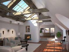 Werden beim Dachausbau neue und große Fensterflächen eingebaut und die Dachbalken renoviert entsteht ein Wohnzimmer, das optisch begeistert.
