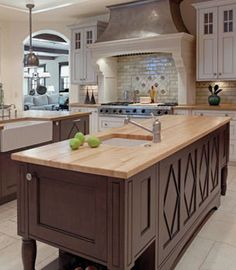 idea for brent for mantle wall Wm Ohs Cabinetry With Diamond Island - traditional - kitchen - denver - Wm Ohs Inc. Dark Kitchen Cabinets, Kitchen Tiles, Kitchen Decor, Brown Cabinets, Wood Cabinets, Kitchen Brick, Espresso Cabinets, Condo Kitchen, Kitchen Furniture