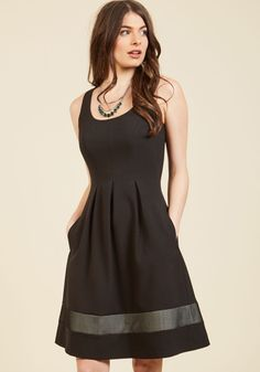 Approaching the Edgy A-Line Dress by Nine West - Black, Solid, Stripes, Work, Girls Night Out, Holiday Party, Daytime Party, LBD, Fit & Flare, Sleeveless, Spring, Summer, Fall, Winter, Better, Woven