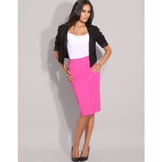 bright pink pencil skirt with white and black