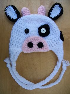 Cow Earflap Hat by MaddysNana on Etsy Knit Crochet, Crochet Hats, Cutest Thing Ever, Polymer Clay Crafts, Accent Colors, Baby Photos, Cow, Kids Outfits, Arts And Crafts