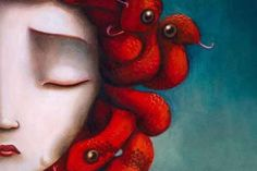 Medusa, Benjamin Lacombe Medusa: the loniest woman on the earth. Mal Humor, Medusa Tattoo, Medusa Art, Medusa Gorgon, Pop Surrealism, Dark Art, Fantasy Art, Cool Art, Street Art
