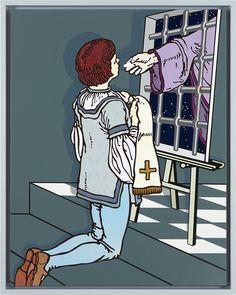 "Gabriele Arruzzo, ""senza titolo (eucharist)"", enamel and acrylic on canvas and wooden frame, 105x83,5cm, 2015 #gabrielearruzzo #art #painting #jail #eucharist"