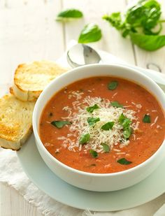 Creamy tomato basil soup, a top source of lycopene, important for women!