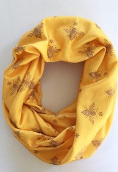 *pre-sale* Buttercream Organic Scarf – Mustard Bees (ships in 2 to 4 weeks) Warm Hug, Full Look, Extra Fabric, Cotton Scarf, Alexander Mcqueen Scarf, Mustard, Organic Cotton, Bees, Freshly Baked