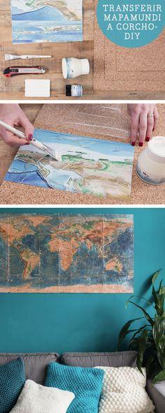 Tutorial DIY: Cómo hacer un mapamundi de corcho con transfer - Decoración y manualidades en DaWanda.es
