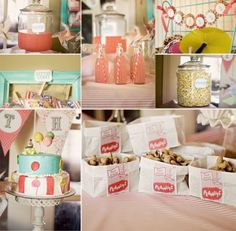 I like the vintage style of this carnival theme party.  Pink Lemonade is a must!!