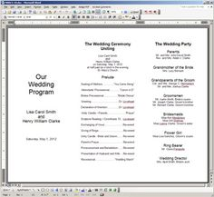 Free Printable Wedding Programs Templates The Template Is Oriented In Landscape Mode As