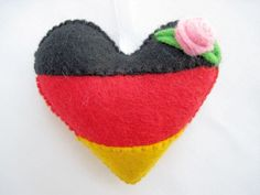 Felt GERMANY Flag Love Heart Valentines Wedding Olympics hanging ornament decoration German National Flag
