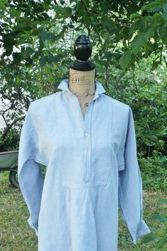 ANTIQUE FRENCH NIGHTSHIRT Pale blue/grey by LaBelleFrenchVintage
