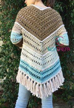 Crochet Poncho Patterns, Crochet Mittens, Crochet Jacket, Crochet Cardigan, Crochet Shawl, Hand Crochet, Crochet Stitches, Hippie Crochet, Crochet Woman