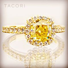 This Ray of Sunshine brightens every day.  Tacori engagement ring in yellow gold, with a canary diamond.  #GORGEOUS