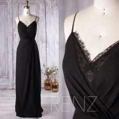 2016 Black Bridesmaid Dress, V Neck Lace Wedding Dress, Spaghetti Straps Prom Dress, Open Back Formal Dress Floor Length (L136)