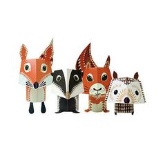 kit fai da the Forest Friends: •Stampato su carta riciclata al 100% •Riciclabile •Ecofriendly •Made in UK by Madeleine Rogers per Mibo •Dimensioni: da 10 a 15 cm montati