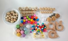 KIT crochet, silicone, wood and teethers-KIT Crochet, silicone, wooden beads + Wooden teethers-DIY kit-Nursing necklaces-Pacifier clips by WoodenbeadsandCo on Etsy https://www.etsy.com/listing/279722476/kit-crochet-silicone-wood-and-teethers
