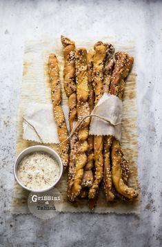 breadsticks with tahini sesame seeds and nigella