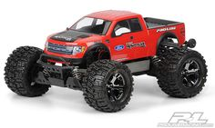 This is a #prolineracing #Ford F-150 SVT Raptor Body for the #Stampede and #Stampede4X4. The full-size Ford® Raptor SVT was designed for serious off-road abuse and now you can give your truck the same look! The Raptor has a bold grill that tells everyone to get out of your way and hood fins that prove it is a serious racing truck. Every detail of this modern icon was re-created to give your truck the ultimate in off-road styling. Mfg part number 3348-00