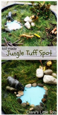 Tuff Spot Jungle tuff spot small world play idea. Perfect for imaginative play and story telling for toddlers and preschoolers.Jungle tuff spot small world play idea. Perfect for imaginative play and story telling for toddlers and preschoolers. Jungle Activities, Preschool Jungle, Eyfs Activities, Nursery Activities, Animal Activities, Infant Activities, Toddler Preschool, Activities For Kids, Jungle Crafts