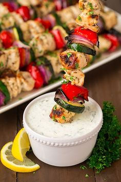 Greek Chicken Kebabs with Tzatziki | Cooking Classy