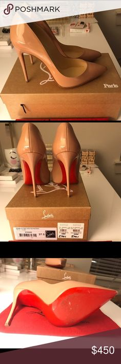Nude leather Christian louboutins pigalle follies The 100mm Christian louboutins pigalle follies size 8(38) worn once, im pregnant and the first time I wore them to my gender reveal, they were completely too high for me. I also accept paypal or google wallet Christian Louboutin Shoes Heels