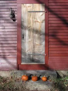 Weathered cottage door -- and here's the plank door a year after it was installed