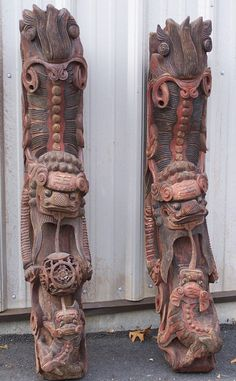 chinese wood carvings | Large pair of Chinese carved wood Corbels c1800