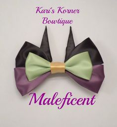 Disney Inspired Bow Maleficent by KarisKornerBowtique on Etsy Disney Diy, Disney Crafts, Fabric Hair Bows, Ribbon Hair, Maleficent Party, Disney Hair Bows, Disney Inspired Fashion, Handmade Hair Bows, Princess Hairstyles