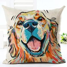 Square Cotton Linen colourful dog Cushion Cover For Dog Lovers, Home Decor