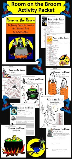 Room on the Broom Activity Packet: This colorful Halloween language arts activity packet complements the children's book, Room on the Broom, by Julia Donaldson.  Contents include: * One 11-question reading comprehension quiz * One synonyms worksheet * Two rhyming words worksheets * One alphabetical order worksheet * One word builder worksheet * One vowel sounds word sort worksheet * One pre-reading predictions activity * One writing prompt * Cauldron Craft * Witch Coloring Sheet * Answer key