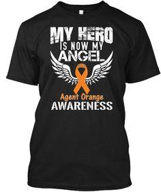 fff6e1c1b31 My Hero Is Now My Angel Agent Orange Awareness Black T-Shirt Front Brain  Cancer