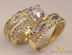 14k Yellow Gold 2.10 Ct Diamond His and Hers Trio Bridal Wedding Rings Band Sets