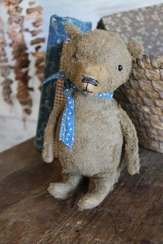 cinnamon creek dry goods | 2015 | Scamp    Little bear sits 6 1/2'' high Old blue calico tie around his neck.          52.00 plus shipping...SOLD