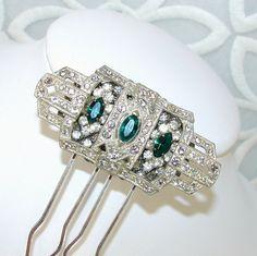 Emerald Green Rhinestone Hair Comb, 1930s Art Deco Jewelry Hairpiece, Great Gatsby Style Wedding Headpiece, Vintage Bride, by OhFaro