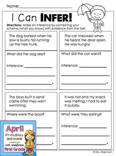 Making Inferences - First Grade Printables