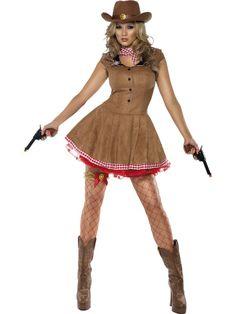 "Adult Wild West Fancy Dress Cowgirl Costume Large | eBay. - Description.   Costume Includes:-  Brown Dress.  Neckscarf.   Size:-  Large.  UK Dress Size: 16 -18.  Bust: 40 - 42"",  Waist: 32 - 34½"",  Hips: 42½ - 44½"" ."