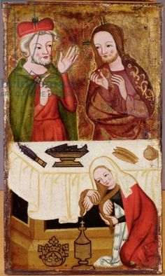 Meal in the House of Simon the Pharisee, panel from a folding altar, from Nuremberg, c.1360-70 (painted wood) (see also 284532, 284534 & 284535)