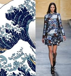 Proenza Schouler and Hokusai = This oriental patterned dress brought images of The Great Wave of Kanagawa, a famous Japanese painting by Hokusai. The mixing blue and white hues create an oceanic ambience, and the black framed folds at the bottom of the dress really add some edginess to what would otherwise be a dress as calm as the sea. The traditional oriental style format brings a mix of culture, couture and chic.