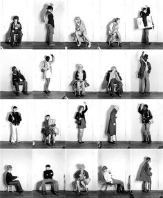 PERFORMANCE ART 'Bus riders', Cindy Sherman In this early work Cindy Sherman took on the personas of the many different people she observed on the public bus. A simple idea, well executed that has supported a career. Sequence Photography, White Photography, Stephen Shore, Narrative Photography, Portrait Photography, Cindy Sherman Photography, Guy Bourdin, Portraits, Feminist Art